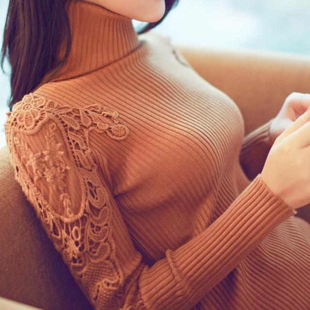 Зима средней длины утолщение водолазка пуловеры свитер женский свитер кружева с длинным рукавом вязаный свитер