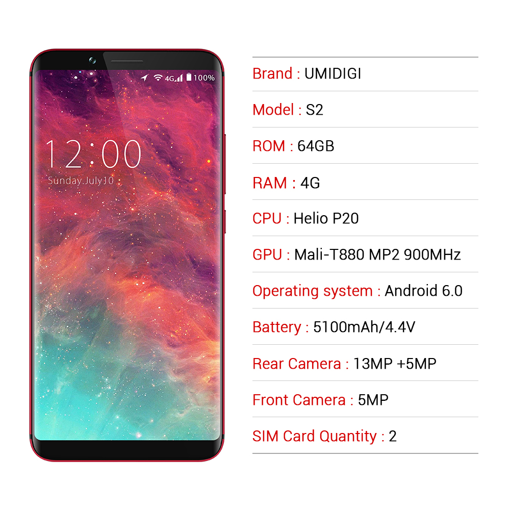 ccb92e3d3 UMIDIGI S2 6.0 inch 4GB RAM 64GB ROM Smartphone P20 Octa Core 5100Mah  Battery 1440x720 Dual Camera Mobile Phone 4G LET CellPhone-in Mobile Phones  from ...