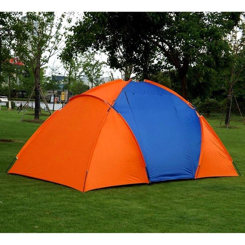 Большая походная палатка для 5 8 человек, водонепроницаемая двухслойная палатка для путешествий с двумя спальнями, семейные вечерние палатки для путешествий, рыбалки, 420x220x175 см - 3