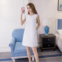 Summer Elegant Straight Dresses Pearl Beading Tweed O neck Above Knee MIni Dress White Sleeveless Back Work Wear Dress