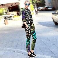 Truevoker Bahar Tasarımcı 2 Parça Set kadın Uzun Kollu Kamuflaj Baskılı Hoodies + Uzun Pantolon Suit Casual Eşofman