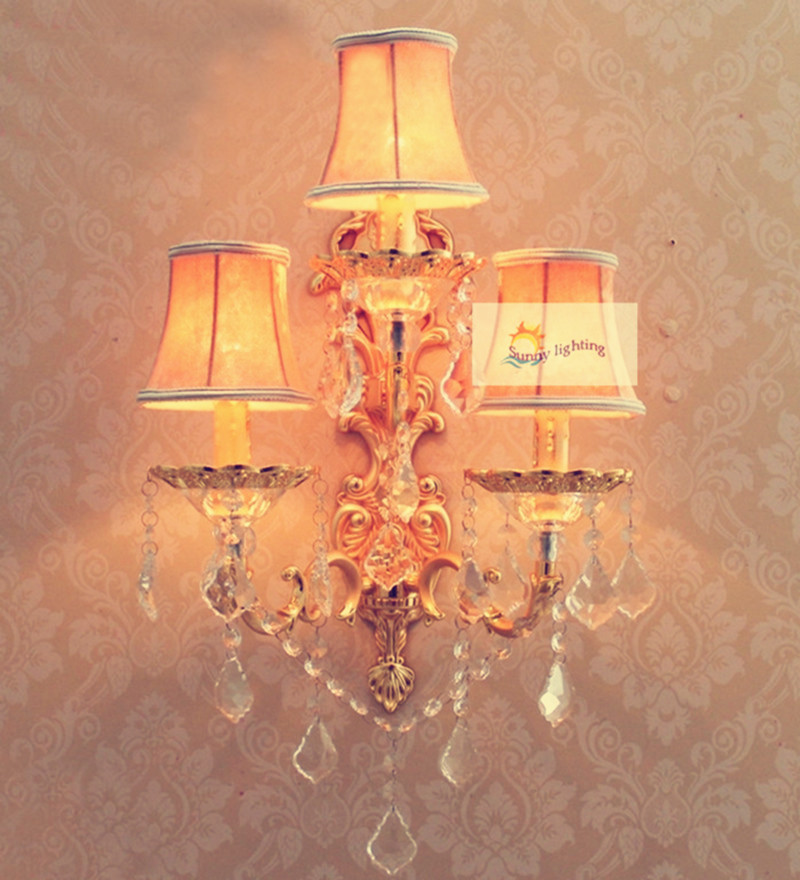 Simple Fabric Tall Wall Light: Home 3 Lights Gold Decorative Wall Lamp Sconce Large Led