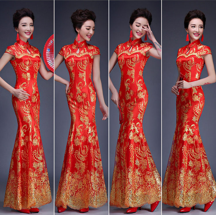 Red Omen Bride Wedding Dress Long Female Chinese Traditional Dress Fishtail Lace Chinese Ancient Costume Short Sequined Dress 18