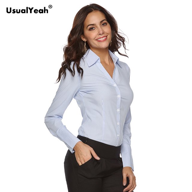 UsualYeah New Women Formal Shirts Long Sleeve Body Shirt Turn down Collar V Neck OL Shirts and Blouses Striped white blue S 4XL