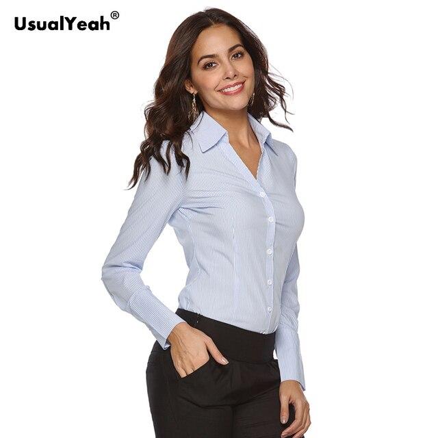 Usualyeah novas camisas formais femininas manga longa corpo camisa turn down colarinho v pescoço ol camisas e blusas listrado azul branco S 4XL