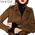 Wink Гал Весной 2016 Искусственного замша куртка Женская Мода кожаное Пальто Искусственная Кожа Короткие Куртки Осень W10823