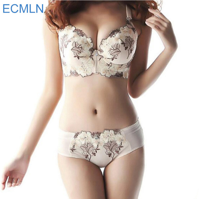Luxury New Deep V New ECMLN brand sexy big size push up women's Bra Brief Sets French Romantic Intimate Underwear Panty Set