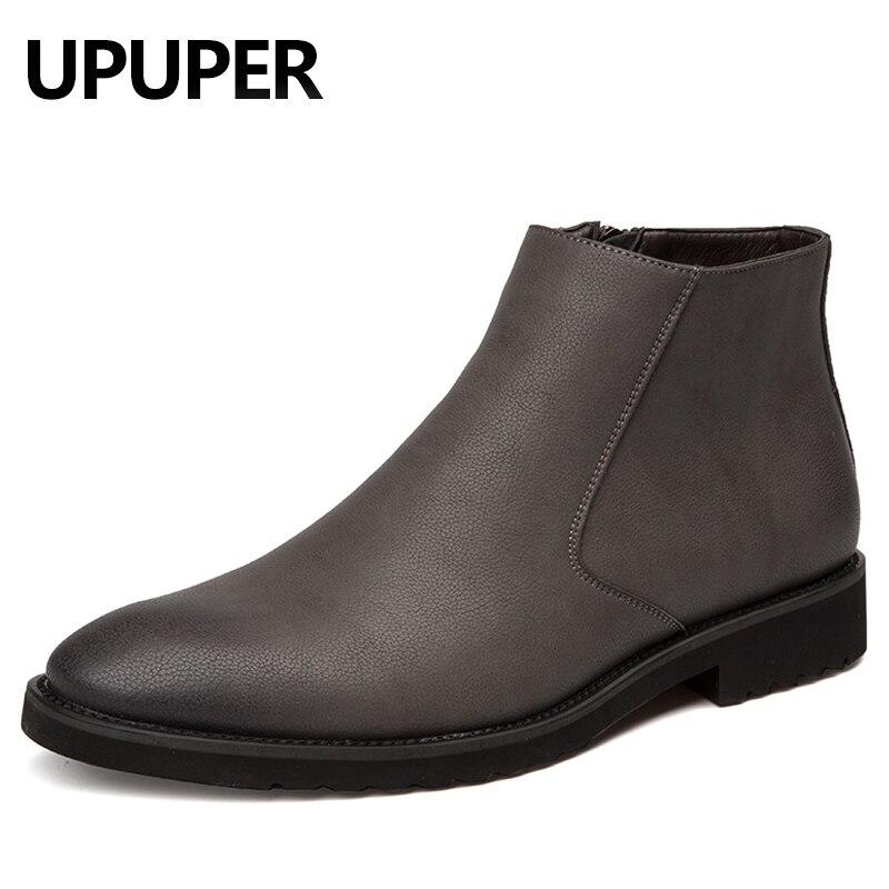 cdd158909169ac gris Noir Zip Brun Chaussures Véritable marron D'affaires Robe Cuir  Britannique Mode Pointu Hommes Pratique Bout Bottes ...