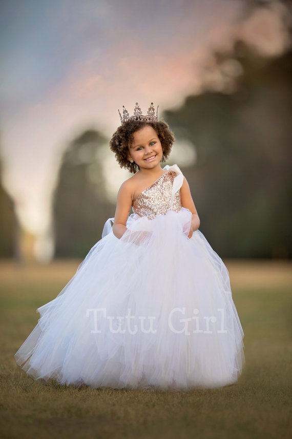62d277d80 One Shoulder Flower Girl Dress for Wedding Blush Gold and Off White Tutu Girl  Dress Gold Sequin Couture Gown Girls Clothes