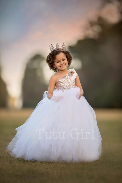 a26389918 One Shoulder Flower Girl Dress for Wedding Blush Gold and Off White Tutu  Girl Dress Gold Sequin Couture Gown Girls Clothes