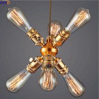 IWHD Ameican Country Vintage Lamp Retro Pendant Lights LED Dinning Room Industrial Pendant Lighting Fixtures Loft