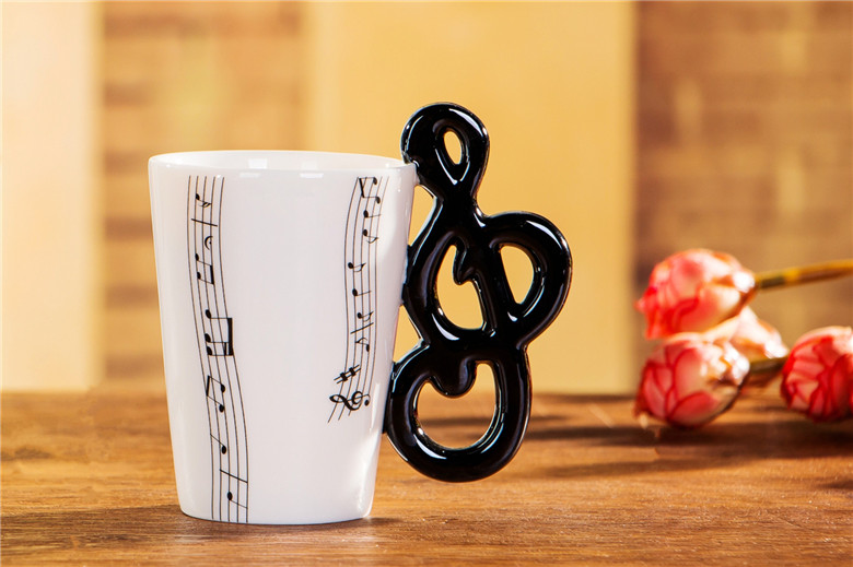 Porcelain Tea Cup Creative Music Notes Mug Water Bottle Ceramic Coffee Cup For Birthday Children Gift Party Bar Music Stadio