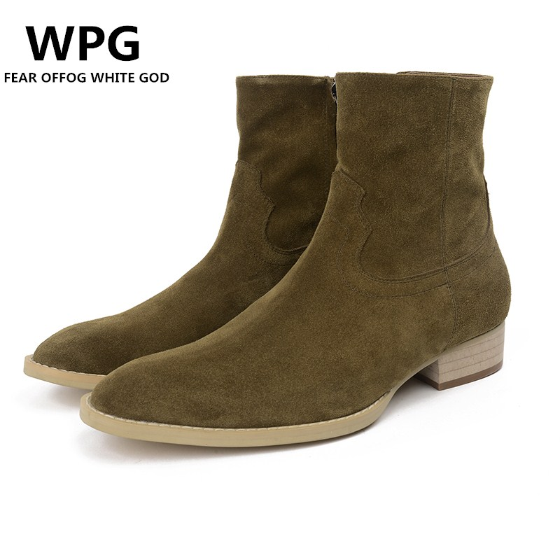 87240ac5a2bb5 WPG 2018 new Europe Latest styles Men s Scrub leather Martin High quality Olive  green Chelsea boots