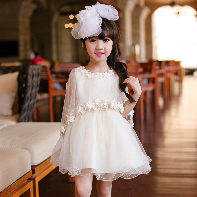 Girl Shawl Dress Summer  Korean New Pattern Performance Princess Temperament Gauze Thick And Disorderly Dress Kids Clothing baby dress shawl girl princess dress