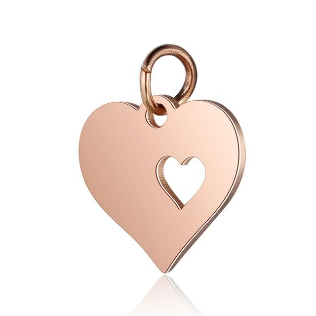 5 шт., подвеска в виде сердца из нержавеющей стали золотого цвета для самодельных шармов, ожерелья и браслеты, фурнитура для изготовления ювелирных изделий, аксессуары - Цвет: Rose Gold