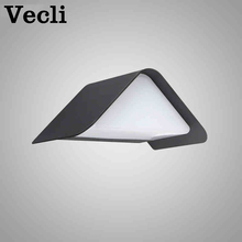Outdoor grey wall lamp villa garden waterproof garden Geometric insect proof balcony doorway house number 9w led light lamp led 5001 9w 450lux 3 led video lamp dark grey