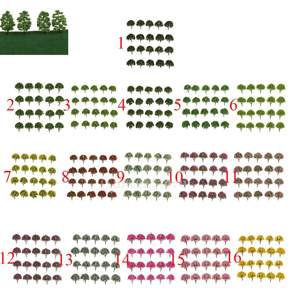 New 20pcs Plastic Simulation of Artificial Model Tree for Train Railway Model Trees Landscape Layout Scenery DIY 1:75 SA80-D006