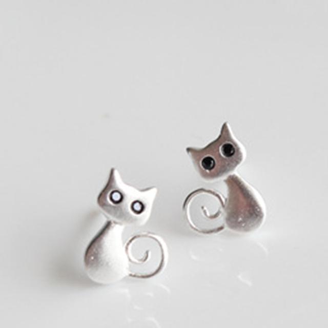 925 Sterling Silver Cute Cat Earrings