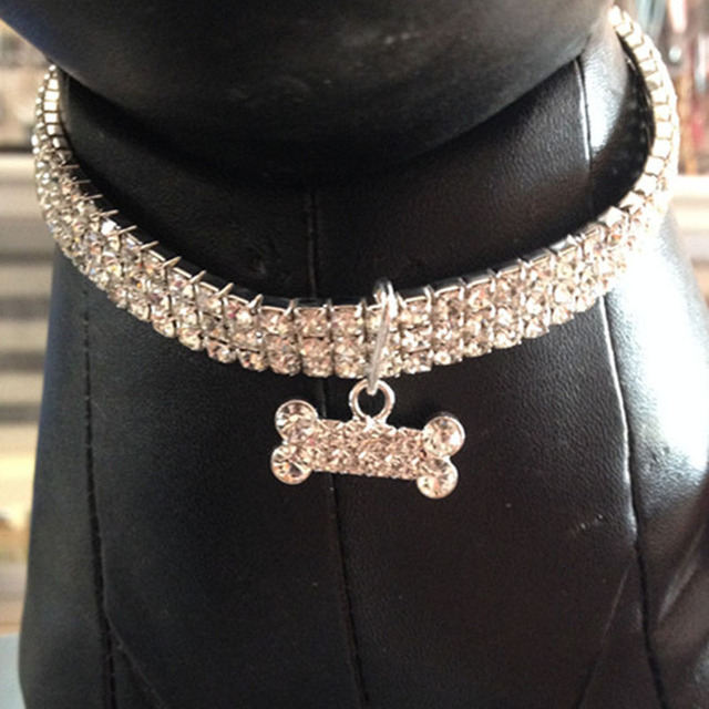 d709567fdd Bling Rhinestone Dog Collars Pet Crystal Diamond Pet Collar Size S/M/L  Collars