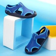 2017 En Gros Garçons Sandales En Cuir De Mode Enfants D'été Patchwork Couleur Appartements Chaussures Simples Enfants Antidérapant Semelle Sandale