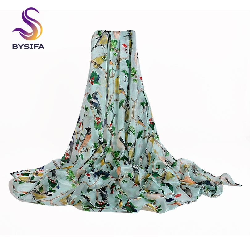 [BYSIFA] New Light Green Birds Silk   Scarf   Shawl 2019 Summer Beach Shaw Cover-up Winter Long   Scarves     Wraps   Ultralong Ladies   Scarf
