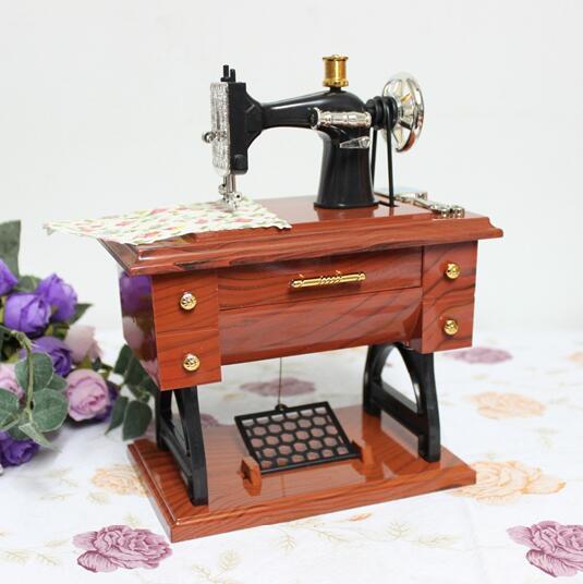 New Music Boxes Plastic Vintage Music Box Mini Sewing Machine Style Best Decor Mini Sewing Machine