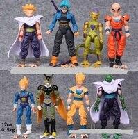 NEW Hot 8 pçs/set 12-14 cm Dragon Ball Z Super Saiyan Trunks uub Kakarotto Son Goku vegeta Figura de Ação DO PVC brinquedos de Natal brinquedo