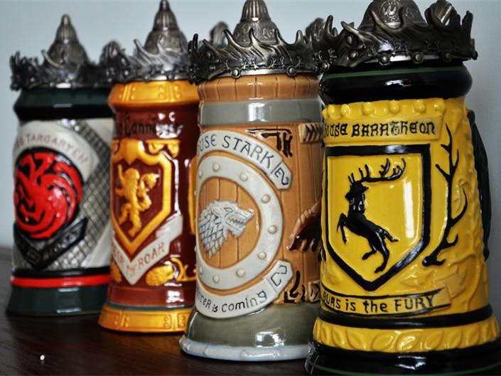 Anime Game Of Thrones Boccale di Birra Tazza di Firme Boccali di Casa Stark Lannister Targaryen Baratheon 22 oz tazza di CERAMICA Boccale di birra Tazza-in Tazze e piattini da Casa e giardino su  Gruppo 1