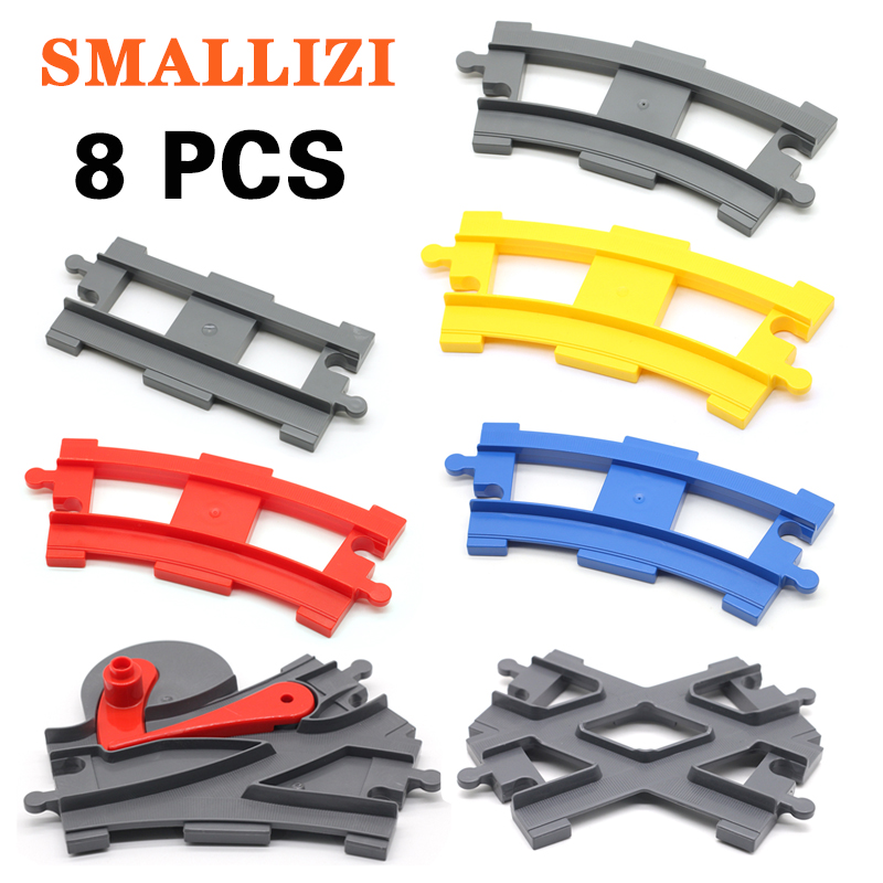Track Building Blocks Compatible With Duplo Train Track Crossover Parts Railway Switch Accessories Bricks Set Toys For Kid Gifts