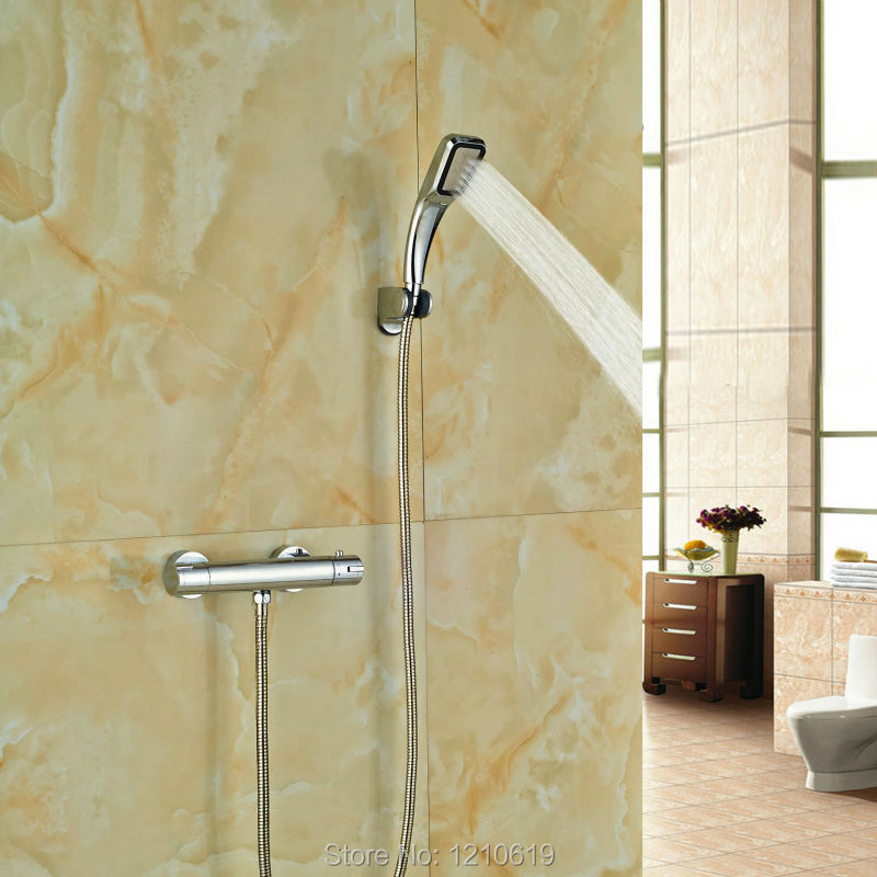 ФОТО Newly Chrome Finish Simple Thermostatic Shower Set w/ Handheld Sprayer Shower Faucet Tap Wall Mount