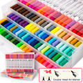 72/100 farben Doppel Kopf Künstler Skizze Aquarell Pinsel Pen-Set für Comics Zeichnung Design Farben Kunst Marker Schule liefert