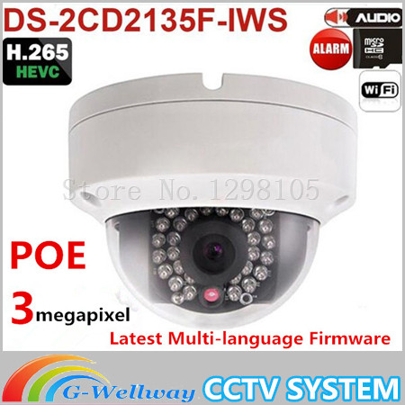 New Arrival DS-2CD2135F-IWS Replace DS-2CD2132F-IWS DS-2CD3132-I 1080P Audio Alarm I/O POE IP Wireless Camera TF Card Slot 2017 new arrival broadlink s1c s1 smartone alarm