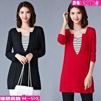 M - 5XL plus size cotton tops long sleeve women's T-shirt casual long tee autumn t shirt elastic female middle age mom hot sale