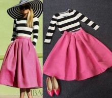 Nice New Autumn Long Sleeve Stripe T-shirt + Bust Skirt 2 Piece Set  Women Casual Striped Sets