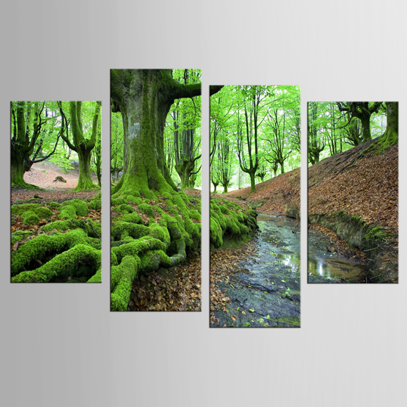 4pcs Set Green Forest Arrivals Printings Paintings Wall