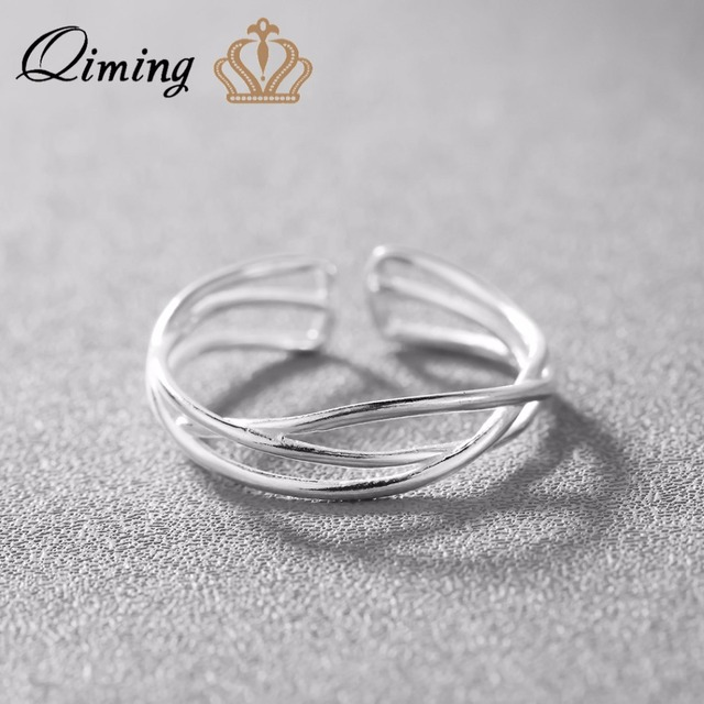 3205cb0c3b QIMING Real 925 Sterling Silver Ring Women Couple Wedding Luxury Jewelry  Braided Cheap Ring Retro Cross Infinity Simple Ring