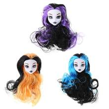 3Colors PVC Plastic Devil Nude Doll Head Toy Accessories Articles Original Fairy Monster Pattern Naked Doll Head with Long Hair(China)