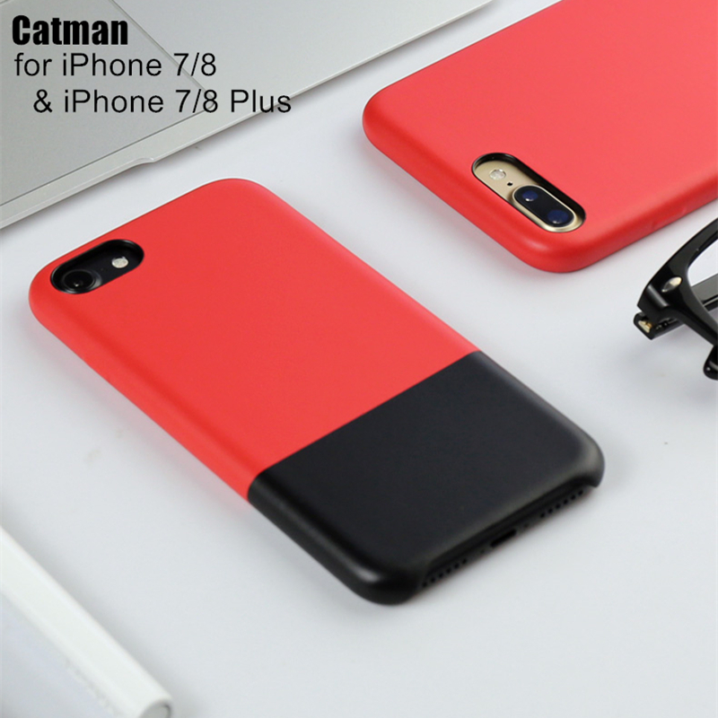catman original for iPhone 8 case CONTRAST COLOR luxury fashion business PU leather funda for iPhone 8 coque iphone 7 plus ...