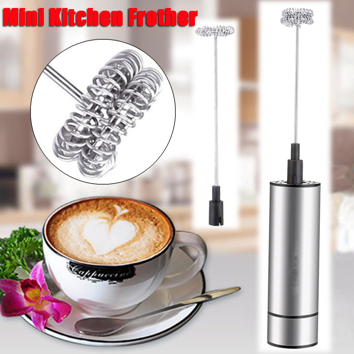 Handheld Electric Milk Frother Foamer Double Spring Triple Spring Whisk Head Agitator Blender Mixer Stirrer Coffee Maker Tool jiqi household electric milk foam bubble maker fancy coffee milk frother foamer diy egg cream mixer mini automatic blender whisk