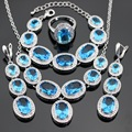 Light Blue Created Topaz Silver Color Jewelry Sets For Women Necklace Pendant Bracelets Long Earrings Rings Free Gift Box