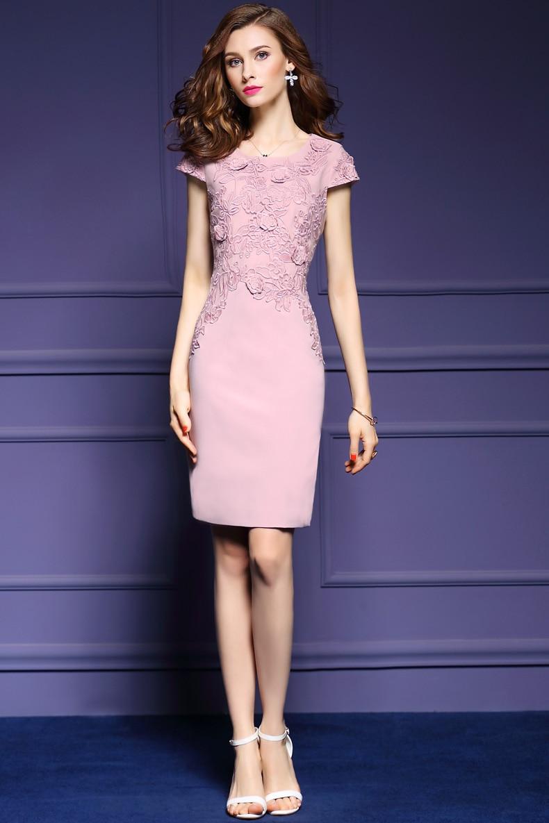 Partie Lady Robes cou Élégant Gaine Floral D'o Manches Moulante 2017 Imprimé Courtes Pink A528 Été Dress Broderie Mince 3d Nn8w0vm