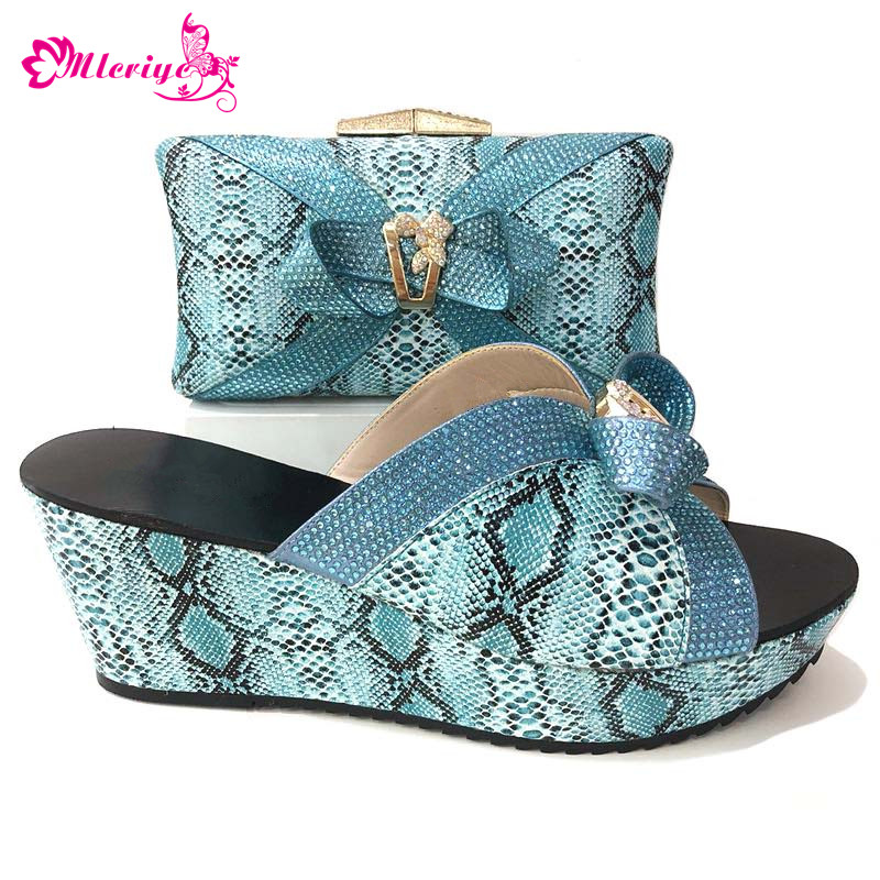African shoes and bag set for party blue With Colorful Appliques Crystal Italian shoes with matching bag new design ladies bag cd158 1 free shipping hot sale fashion design shoes and matching bag with glitter item in black