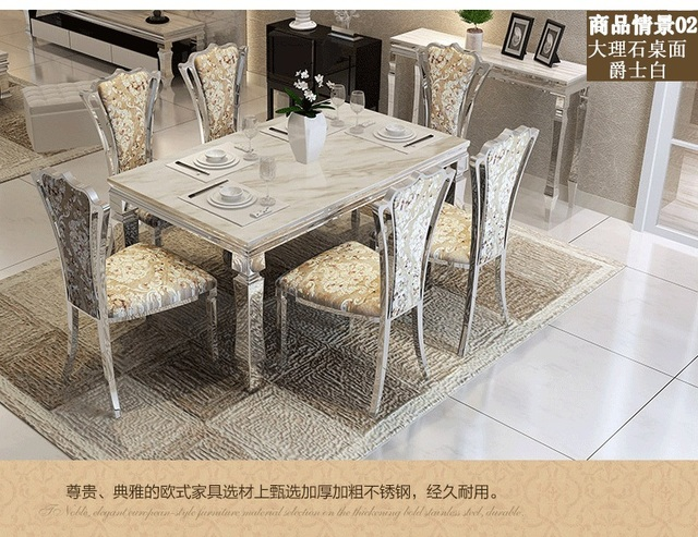 Dining Table Sets Marble 4 Chairs Modern Stylish Room Set Cheap Furniture Send From China