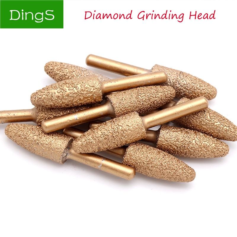 1pcs 6mm Shank Bullet Vacuum Brazed Diamond Burrs Alloy Grinding Head 60mm For Stone Jade Peeling Stone Electric Carving Tools