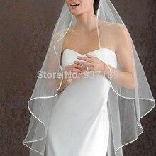 Горячая 1 слой дешевые белые/белоснежные свадебные вуали Короткие Свадебные аксессуары Фата свадебная вуаль с атласная повязка