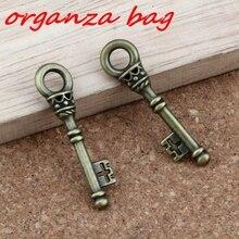 keys Charm Pendants 30Pcs/ lots 9x35.8mm Antique bronze Alloy Jewelry DIY Fit Necklace A-320