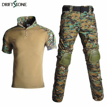 Tactical Uniform Men Army Combat Suit Summer Short Sleeve Shirt + Pants Knee Pads Camouflage Airsoft Paintball Military Clothing