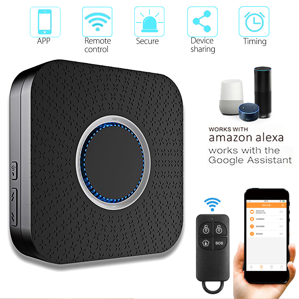 Kinco Smart WIFI Home Security Alarm APP System Works With Alexa/Google Home Voice Control Smart Home Supplies frankever smart products wifi voice control discolourable bulb for bedroom club compatible with alexa google home