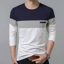 купить T-Shirt Men T-shirt long Sleeve Casual Mens O-Neck T Shirts Men TShirt Clothing Fashion Patchwork Cotton Fashion Men's Tee Tops дешево