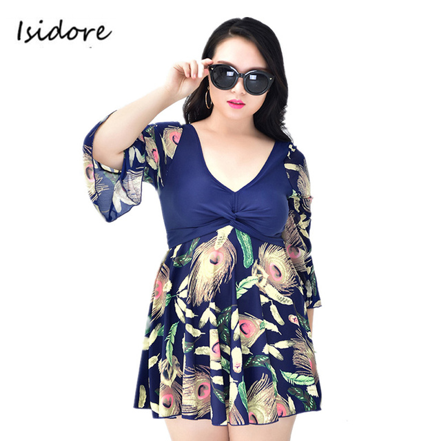 Plus Size Maillot De Bain Half Sleeve Modest Dress Swimming Suit Swimwear One Piece Swimsuit Bathing Suits For Women Xl 5 Xl  by Manyier